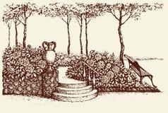 Paisaje del vector Banco de parque debajo del árbol Imagen de archivo libre de regalías