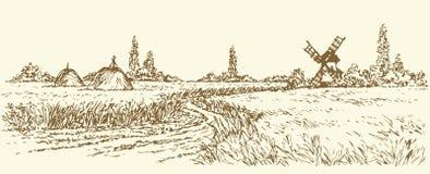 Paisaje del vector Camino al molino de viento viejo Fotos de archivo