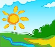 Paisaje del vector con el sol Fotos de archivo