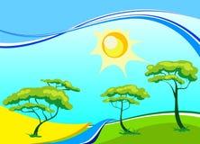 Paisaje del vector con los árboles y el sol Foto de archivo libre de regalías