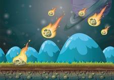 Paisaje del vector de la historieta con el fondo del meteorito con las capas separadas para el arte y la animación del juego Foto de archivo libre de regalías
