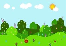 Paisaje del vector de la primavera Ejemplo con los arbustos, colinas con las flores, oídos y huevos coloridos, cielo, hierba verd stock de ilustración