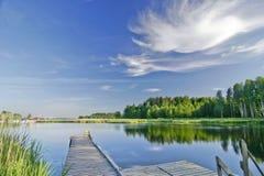 Paisaje del verano con el lago imagen de archivo
