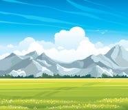 Paisaje del verano con el prado y las montañas Imagen de archivo libre de regalías