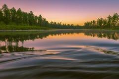 Paisaje del verano con el río, cielo nublado, bosque e hierba y flores Foto de archivo