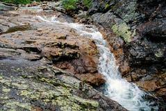 Paisaje del verano con el río de la montaña en montañas cerca del lago Baikal Fotografía de archivo libre de regalías