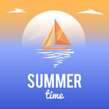 Paisaje del verano con el texto del estilo stock de ilustración