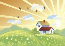 Paisaje del verano con las casas Imagen de archivo libre de regalías