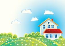 Paisaje del verano con las casas Imagen de archivo