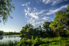 Paisaje del verano con los árboles alrededor de un lago contra un cielo azul Foto de archivo