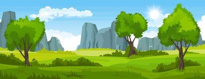 Paisaje del verano con los campos y árboles y montañas stock de ilustración