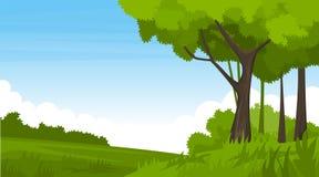 Paisaje del verano con los campos y las colinas verdes ilustración del vector