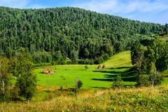 Paisaje del verano con los pajares en las montañas Imagen de archivo
