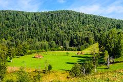 Paisaje del verano con los pajares en las montañas Imagenes de archivo