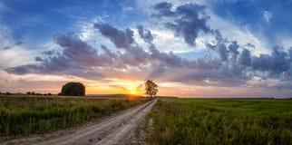 Paisaje del verano con un campo en la puesta del sol, Rusia, Imagenes de archivo