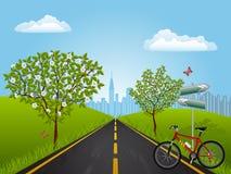 Paisaje del verano con una bici Fotografía de archivo