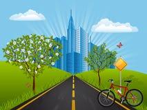 Paisaje del verano con una bici Fotografía de archivo libre de regalías