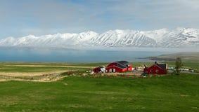 Paisaje del verano de Islandia Fiordo, casa, montañas Foto de archivo libre de regalías