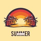Paisaje del verano del ejemplo con el texto del estilo stock de ilustración