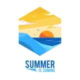 Paisaje del verano del ejemplo y del icono stock de ilustración