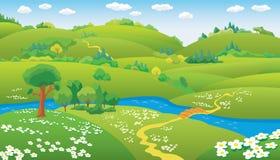 Paisaje del verano del vector Imagen de archivo libre de regalías