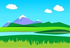 Paisaje del VERANO Montañas en el fondo un cielo azul con cl libre illustration