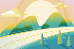 Paisaje del verano o de la primavera, ejemplo del vector Camino en valle verde, montañas, colinas, árboles, nubes y sol en el cie ilustración del vector