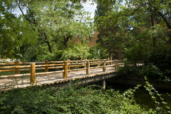 Paisaje del verano, puente de madera y hojas del verde Fotos de archivo libres de regalías