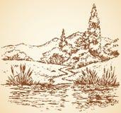 Paisaje del verano: rastro del bosque a fluir Bosquejo del vector stock de ilustración