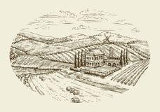 Paisaje del viñedo Dé la agricultura exhausta del bosquejo del vintage, cultivando, granja stock de ilustración
