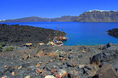 Paisaje del volcán de Nea Kameni, Grecia Fotos de archivo libres de regalías