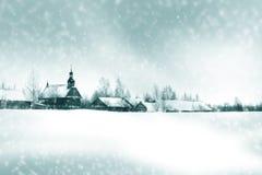 Paisaje del willage del invierno Foto de archivo libre de regalías