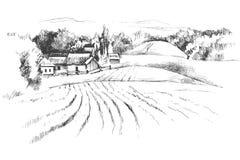 Paisaje dibujado mano con los campos Fotografía de archivo