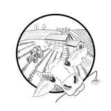 Paisaje dibujado mano del garabato con la granja, campos, tractor, gallina, Fotos de archivo