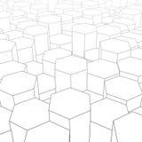 Paisaje digital abstracto con hexágonos en horizonte Cibernético o te Imagenes de archivo