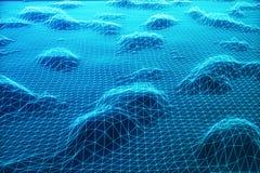 paisaje digital del wireframe del extracto del ejemplo 3D Rejilla del paisaje del ciberespacio tecnología 3d Internet abstracto Fotos de archivo libres de regalías