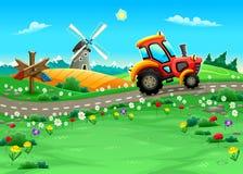 Paisaje divertido con el tractor en el camino ilustración del vector