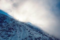Paisaje dramático del pictersque de las montañas nevosas del invierno cubiertas Fotografía de archivo