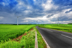 Paisaje ecológico del verde de la tierra en el cielo nublado Foto de archivo