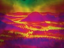 Paisaje efectuado fantasía con los árboles en bosque y colinas redondeadas fotos de archivo libres de regalías