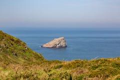 Paisaje en Armor Coastline - la Bretaña, Francia imagen de archivo libre de regalías