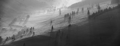 Paisaje en blanco y negro Imagen de archivo libre de regalías