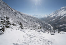 Paisaje en el circuito de Annapurna Foto de archivo libre de regalías