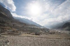 Paisaje en el circuito de Annapurna Fotografía de archivo libre de regalías
