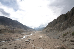 Paisaje en el circuito de Annapurna Fotos de archivo libres de regalías