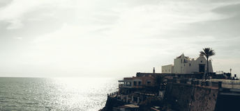Paisaje en el d'Ischia de Forio, Italia Foto de archivo libre de regalías