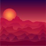 Paisaje en el ejemplo de la puesta del sol Puesta del sol del espacio Desierto en la puesta del sol Puesta del sol en espacio Imagenes de archivo