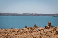Paisaje en el lago Nasser imagen de archivo