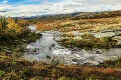 Paisaje en el parque nacional de Forollhogna, Noruega Foto de archivo