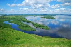 Paisaje en el río Volga Fotografía de archivo libre de regalías